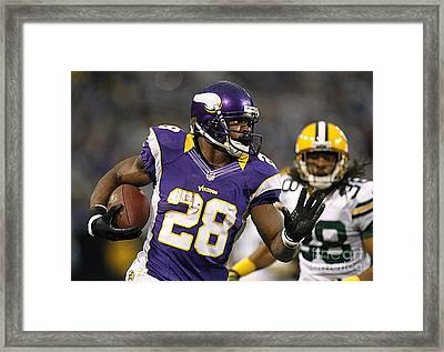 Adrian Peterson Framed Print by Marvin Blaine