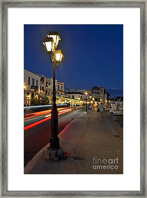 Aegina Port During Dusk Time Framed Print by George Atsametakis
