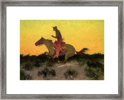 Against The Sunset Framed Print by Frederic Remington