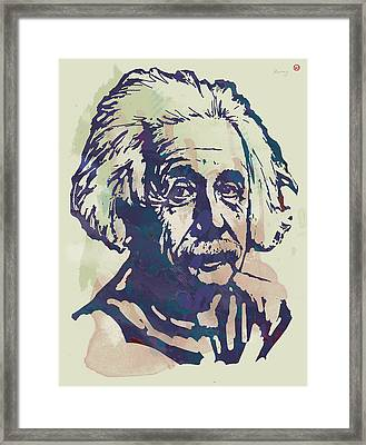 Albert Einstei - Pop Stylised Art Sketch Poster Framed Print by Kim Wang