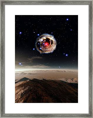 Alien Planet And Supernova Framed Print by Nasa/esa/stsci/h.bond/detlev Van Ravenswaay