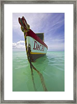Anchored Colorful Fishing Boat Of Aruba II Framed Print by David Letts
