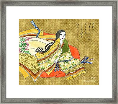 Ancient Japanese Noblewoman In Autumn Hues Framed Print by Beverly Claire Kaiya