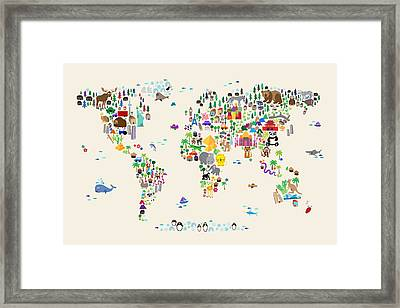 Animal Map Of The World For Children And Kids Framed Print by Michael Tompsett