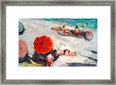 At The Beach Framed Print by George Siaba