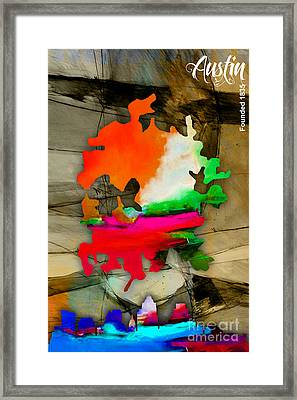 Austin Map And Skyline Watercolor Framed Print by Marvin Blaine