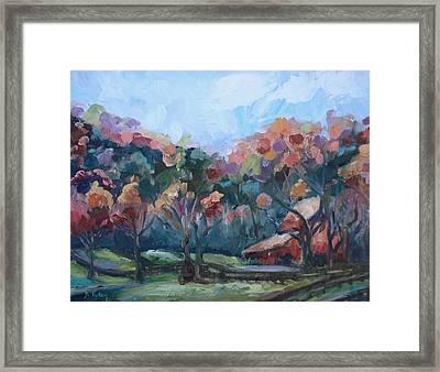 Autumn Barn Framed Print by Donna Tuten