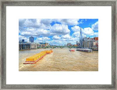 Barge On The Thames Framed Print by Jim Hughes
