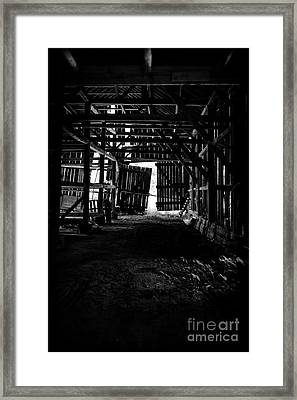 Tobacco Barn Interior Framed Print by HD Connelly