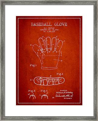 Baseball Glove Patent Drawing From 1922 Framed Print by Aged Pixel