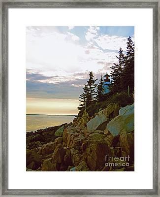 Bass Harbor Lighthouse Framed Print by Helene Guertin