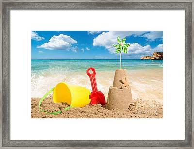 Beach Scene Framed Print by Amanda Elwell