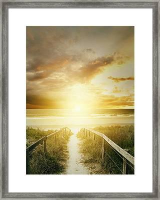Beach Walkway Framed Print by Les Cunliffe