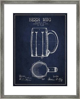 Beer Mug Patent From 1876 - Navy Blue Framed Print by Aged Pixel