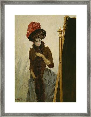 Before The Swing Mirror Framed Print by Emile Galle