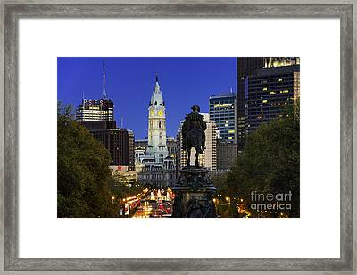 Ben Franklin Parkway And City Hall Framed Print by John Greim