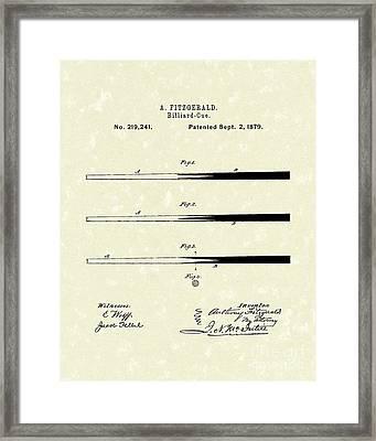 Billiard Cue 1879 Patent Art Framed Print by Prior Art Design