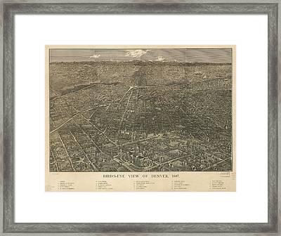 Birdseye Map Of Denver Colorado - 1887 Framed Print by Eric Glaser