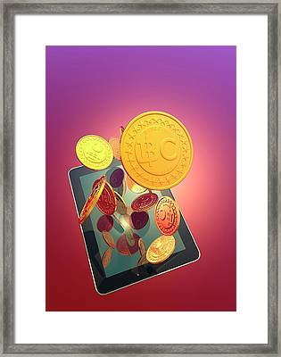 Bitcoins And Digital Tablet Framed Print by Victor Habbick Visions