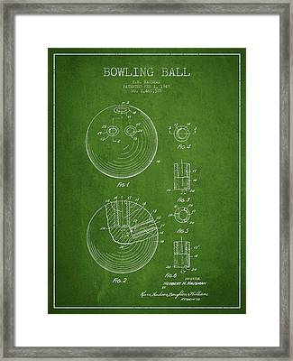 Bowling Ball Patent Drawing From 1949 Framed Print by Aged Pixel