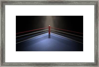 Boxing Corner Spotlit Dark Framed Print by Allan Swart