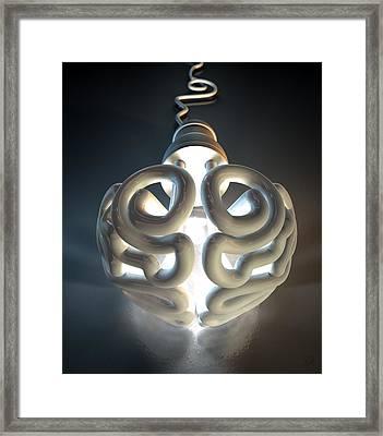 Brain Flourescent Light Bulb Framed Print by Allan Swart