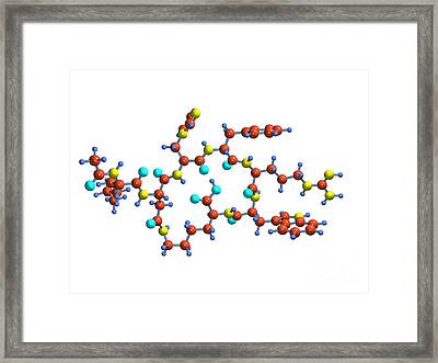 Bremelanotide Drug Molecule Framed Print by Dr. Mark J. Winter