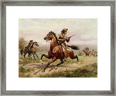 Buffalo Bill Fighting Indians Framed Print by Louis Maurer