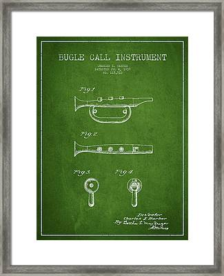 Bugle Call Instrument Patent Drawing From 1939 - Green Framed Print by Aged Pixel