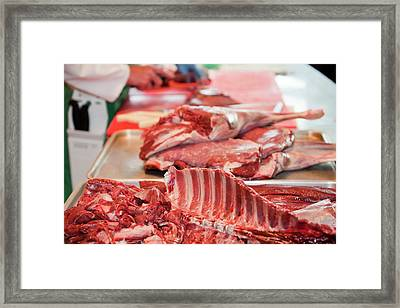 Butchering Venison Framed Print by Ashley Cooper