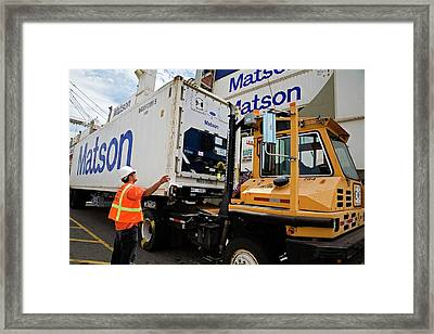 Cargo Container Being Loaded Framed Print by Jim West