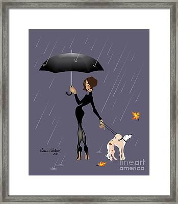 Caught In The Rain Framed Print by Cesar Pacheco