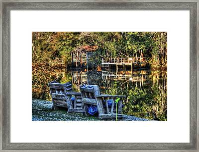 2 Chairs On The Magnolia River Framed Print by Michael Thomas