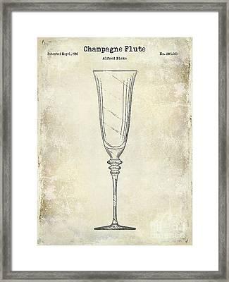Champagne Flute Patent Drawing  Framed Print by Jon Neidert