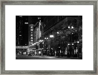 Chicago Theatre At Night Framed Print by Christine Till