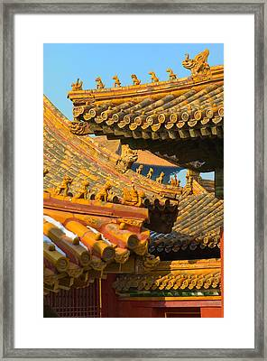 China Forbidden City Roof Decoration Framed Print by Sebastian Musial