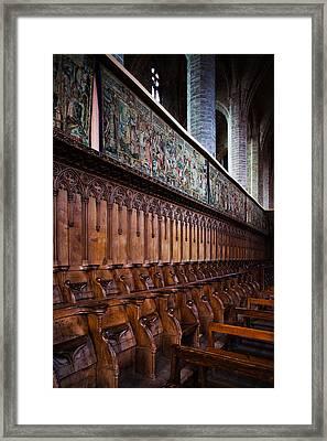 Choir Stalls At Abbatiale Saint-robert Framed Print by Panoramic Images