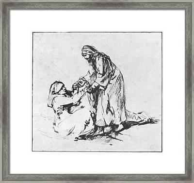 Christ Helping Up Lady Framed Print by Rembrandt