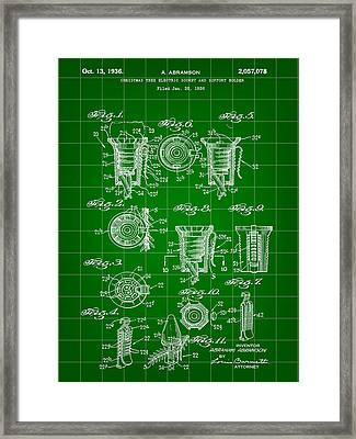 Christmas Bulb Socket Patent 1936 - Green Framed Print by Stephen Younts