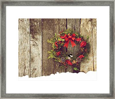Christmas Chickadee. Framed Print by Kelly Nelson