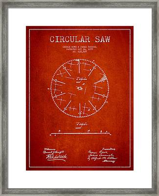 Circular Saw Patent Drawing From 1899 Framed Print by Aged Pixel