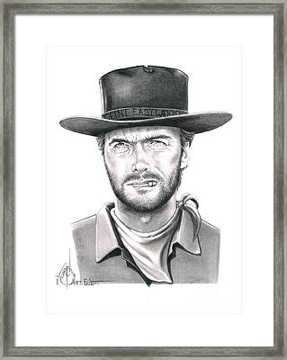 Cowboy Pencil Drawings Framed Print featuring the drawing Clint Eastwood by Murphy Elliott