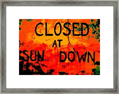 Closing Time Framed Print by Chris Berry