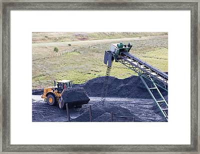 Conveyor With Coal From Opencast Mine Framed Print by Ashley Cooper