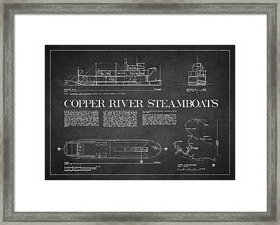 Copper River Steamboats Blueprint Framed Print by Aged Pixel