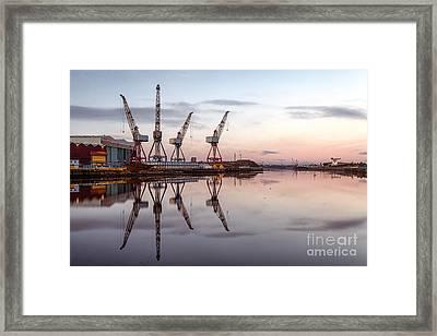 Cranes On The Clyde  Framed Print by John Farnan