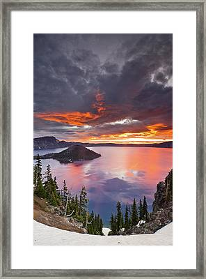 Crater Lake Dawn Framed Print by Greg Nyquist