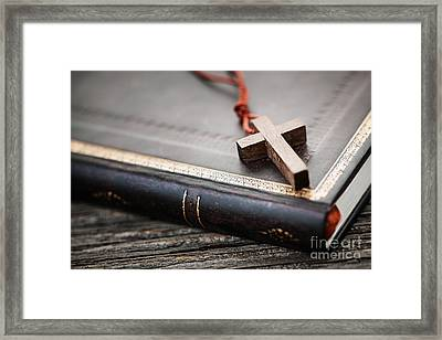 Cross On Bible Framed Print by Elena Elisseeva