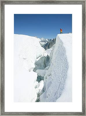 Crossing The Vallee Blanche Framed Print by Ashley Cooper
