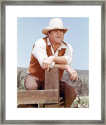 Dan Blocker In Bonanza  Framed Print by Silver Screen
